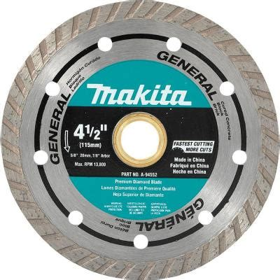 Makita Tile Saw Blade by Makita 4 1 2 In Turbo General Purpose Blade A