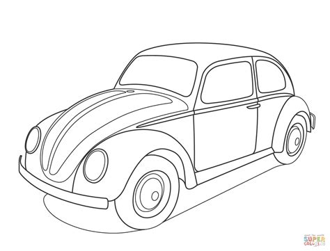 ferrari sketch view volkswagen beetle coloring page free printable coloring