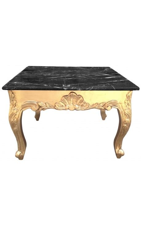 gold and wood coffee table square coffee table baroque style gold leaf black marble top