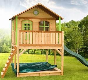 cabane d39enfant en bois marc maisonnette en bois sur With maisonnette en bois avec bac a sable