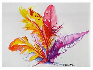 Original Abstract Birds Feathers Bouquet Watercolor ...