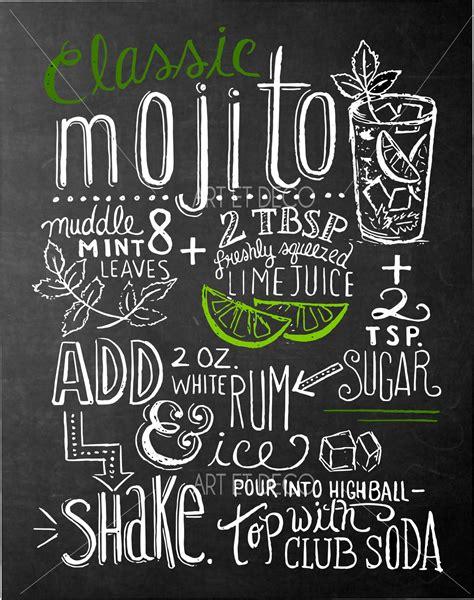tableau craie cuisine tableau recette cocktail mojito cuisine ardoise tableau à