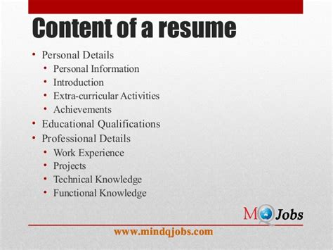 Personal Data To Put In Resume by Mindqjobs Resume Structure And Covering Letter