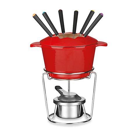 cuisinart  piece enamel cast iron fondue set  red bed bath