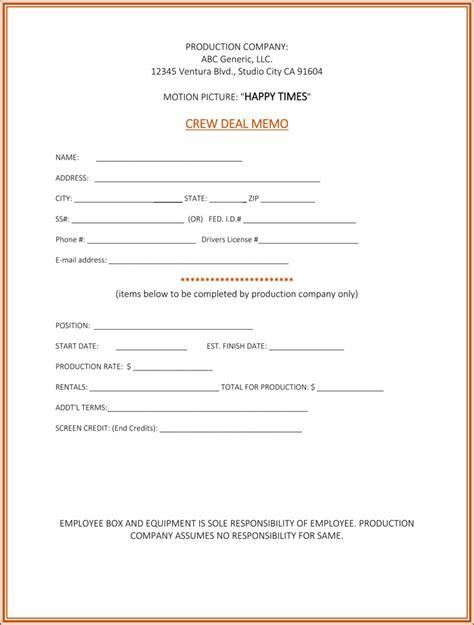 deal memo template  samples  write  perfect deal memo