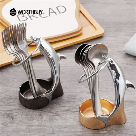 worthbuy cute dolphin dinnerware set   stainless