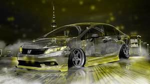 Honda Civic Jdm Tuning Crystal City Night Neon Fog Smoke