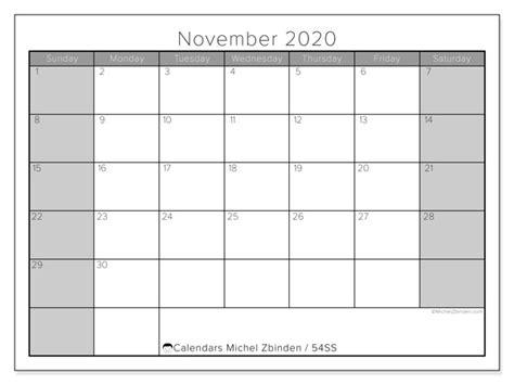 calendar november  ss michel zbinden en