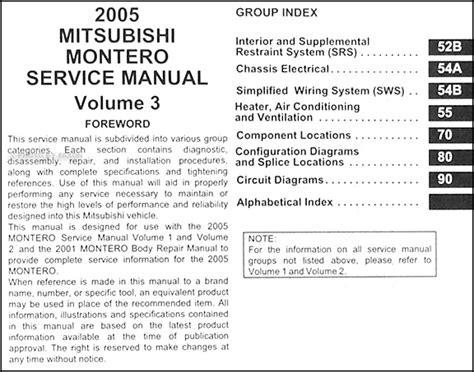 car repair manuals download 2005 mitsubishi montero auto manual 2005 mitsubishi montero repair shop manual original set