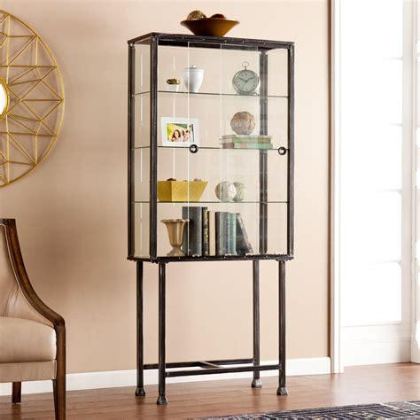 Steel Display Cabinet by Southern Enterprises Metal Glass Sliding Door Display