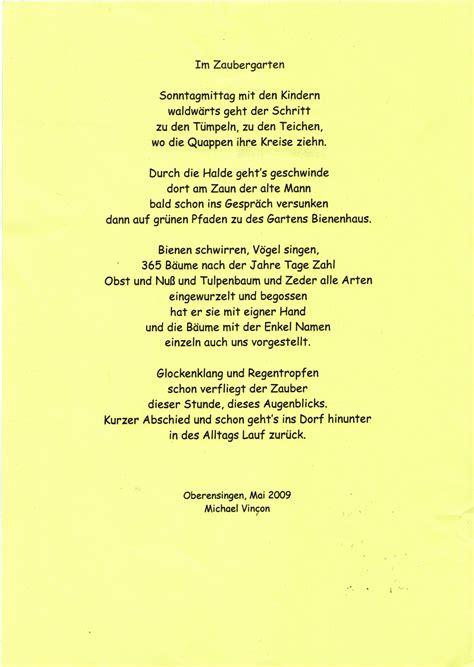 Der Garten Gedicht by F 252 R Mich Ist Jeder Tag Ein Geschenk
