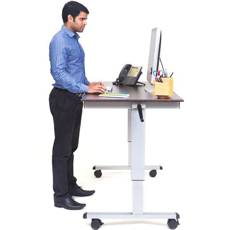 Crank Up Standing Desk by Luxor Standup Cf60 Dw 60 Quot Crank Adjustable Stand Up Desk