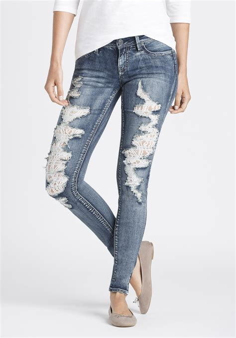 Women's Destroyed Lace Skinny Jeans