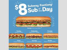 $8 'SUB OF THE DAY' SUBWAY FOOTLONG Figtree Grove