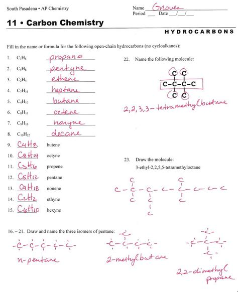 Hydrocarbon Nomenclature  Naming Hydrocarbons Practice Worksheet  (answers)  Organic Chem