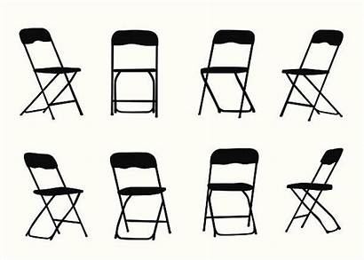 Chair Folding Clip Chairs Silhouette Illustrations Vectors