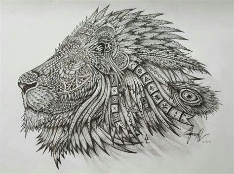 native lion lion native american indian pencil