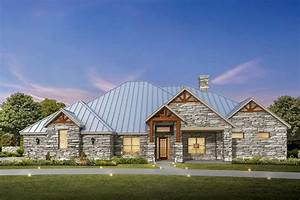 4, Bed, Hill, Country, Ranch, House, Plan, With, Stone, Exterior