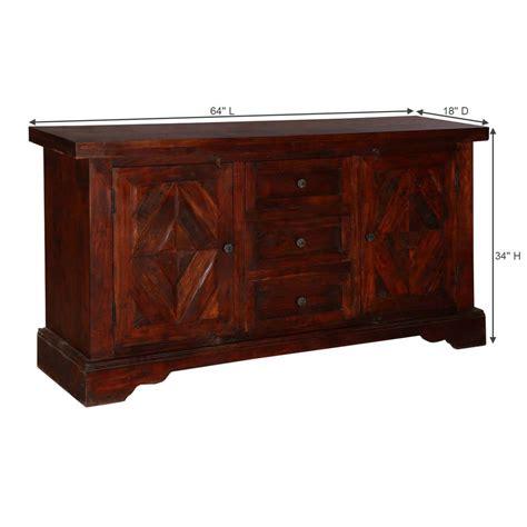 Mango Wood Sideboard by Handcrafted Mango Wood 3 Drawer Large