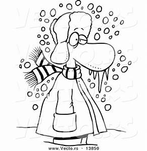 Vector of a Cartoon Cold Winter Man Standing in the Snow ...