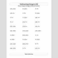 Subtracting Integers From (9) To (+9) (negative Numbers In Parentheses) (a