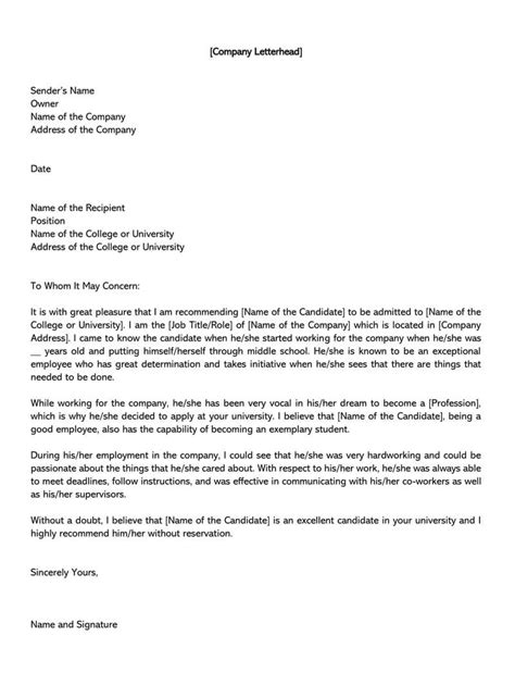 recommendation letter head proposal sample