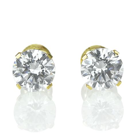 total si鑒e 2 10 ct d si1 genuine stud earrings 14k yellow gold 39 s ebay