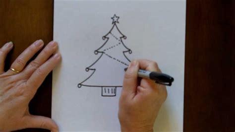 draw  christmas tree simple drawing tutorial