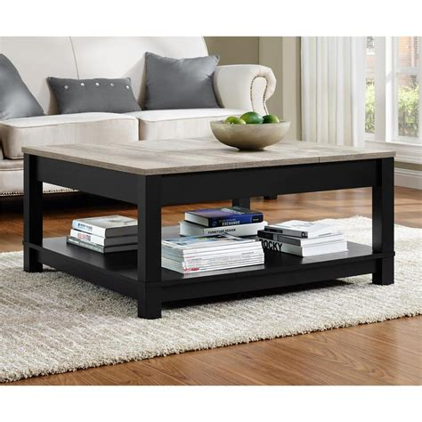 living room table sets with storage altra furniture carver matte black storage coffee table