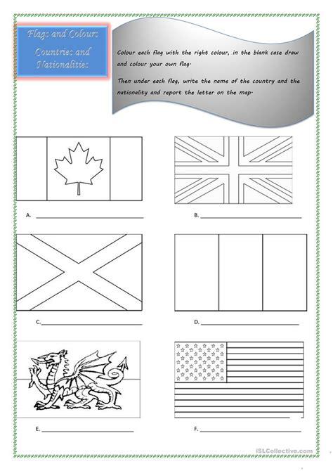 flags countries  nationalities worksheet  esl