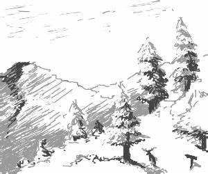 Trees in a snowy mountain range - drawing by Densetsu_VII