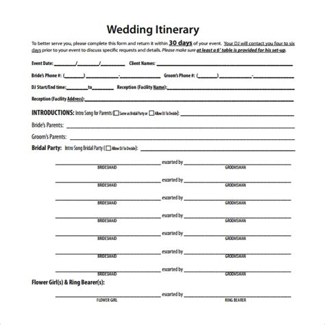 wedding itinerary template   documents