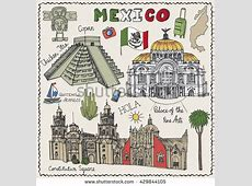 Travel Mexico Famous Landmarksvector Hand Drawn Stock
