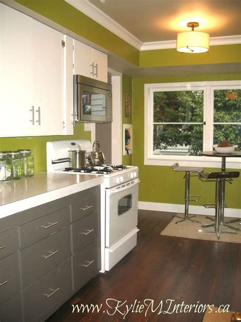 Gray Kitchen Cabinets Ideas - painted 1950 39 s kitchen cabinets amherst gray cloud white dark stained floors funky green walls