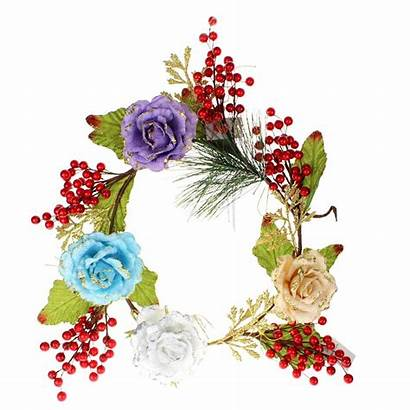 Garland Rose Colorful Floral Christmas Berry Decorative