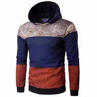 Color Block Spliced Rust Print Hoodie
