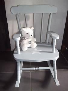 Fauteuil rocking chair en bois patine gris bleu avec for Fauteuil rocking chair