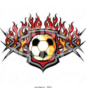 Soccer Ball with Flames Clip Art