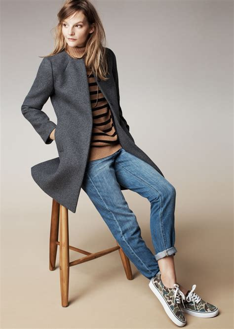 madewell curator coat striped turtleneck sweater