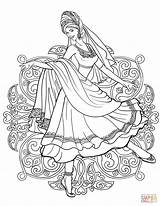 Coloring Indian Traditional Dancing Dance Printable Supercoloring Drawing India Belly Arabic Dresses Adult Fairy Drawings Line Sheets Permission Nature sketch template