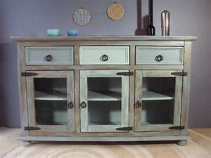 Buffet de cuisine vert kaki or au bois enchante for Deco cuisine avec buffet original meuble