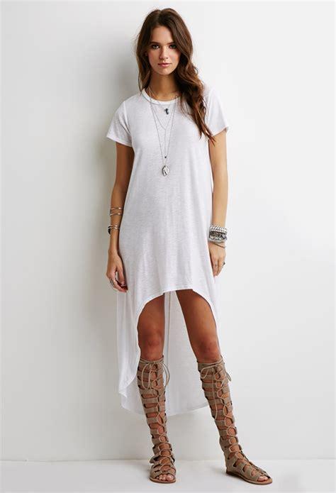 t shirt dresses forever 21 crescent hem t shirt dress in white lyst