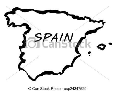 vector illustration  vecto balck drawing map  spain
