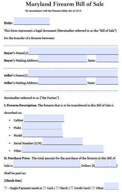 maryland firearmgun bill  sale form  word