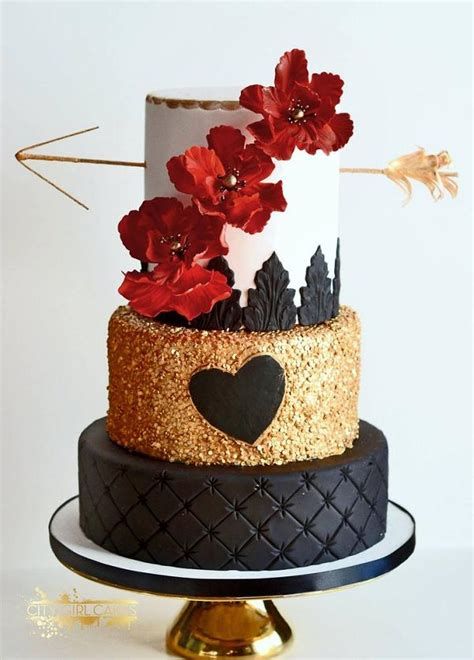 Black Gold And Red Wedding Cake Wedding Cake In Black Gold