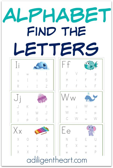 alphabet find  letters pages  printable
