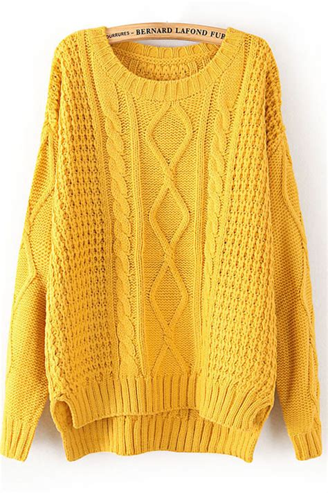 sweaters com yellow cable knit sweater winter sweaters for