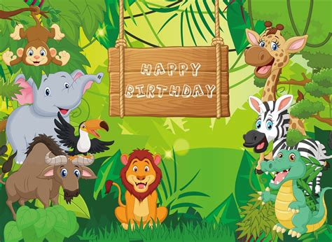 huayi jungle safari themed animals birthday party banner