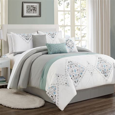Grey Coverlet by 7 Even Gray White Blue Comforter Set