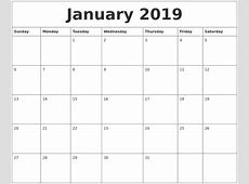 January 2019 Calendar Monthly